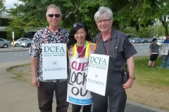 L to R - CBA Area Steward David Moulton-CUPE 1816 Strike Captain Ellie Lee-VP Negs. Stephen Crozier